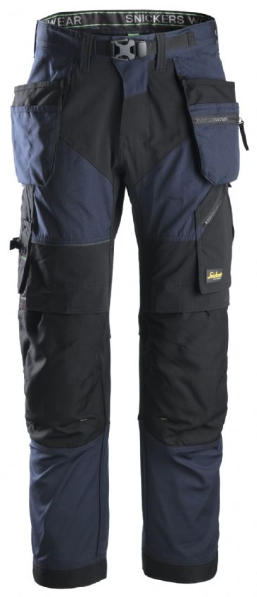 Snickers FlexiWork 6902 Work Trousers with Holster Pockets (Navy/Black)